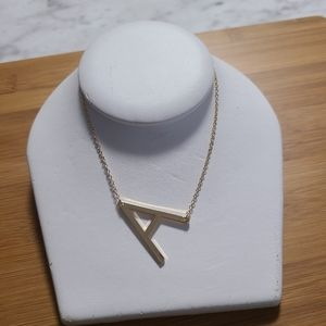 Gold Letter A Initial Necklace